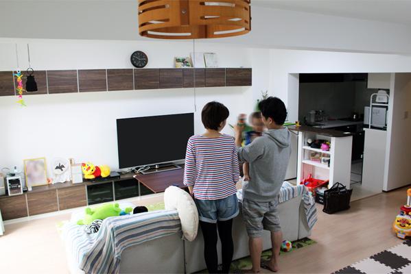 リノベーションで生まれた広いリビング空間は、ご家族がもっとも長い時間を過ごされる場所になりました。