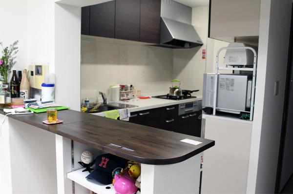 キッチンに造作した、通り抜けができるカウンターは、ミックの得意なオーダーメイド建築。 キッチンからの格別な開放感もお気に入りのひとつとのことです。